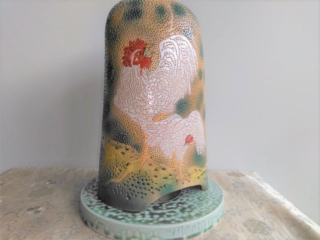 やす波窯の手作り陶器ランプシェード初日の出に白鶏