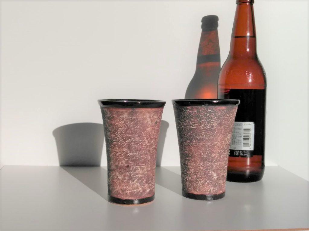 やす波窯陶器ビールコップ
