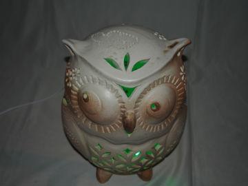 やす波窯陶器ランプシェードフクロウ